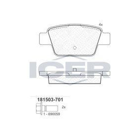 ICER  181503-701 Bremsbelagsatz, Scheibenbremse Höhe: 42,9mm, Dicke/Stärke: 16,3mm
