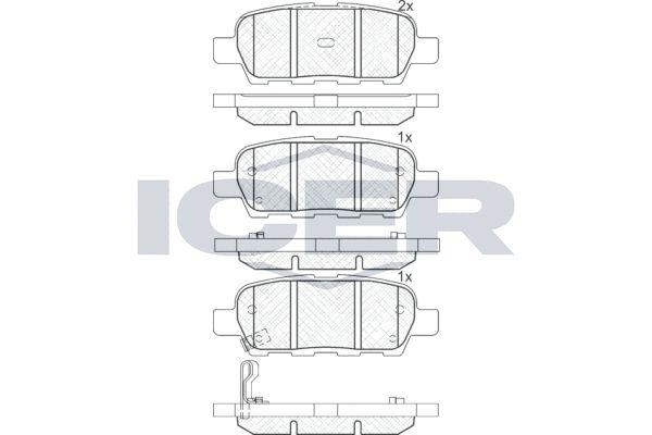 ICER  181509 Bremsbelagsatz, Scheibenbremse Höhe: 38,1mm, Dicke/Stärke: 14,3mm