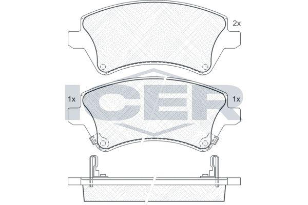 ICER  181513 Bremsbelagsatz, Scheibenbremse Höhe: 57,05mm, Dicke/Stärke: 18mm