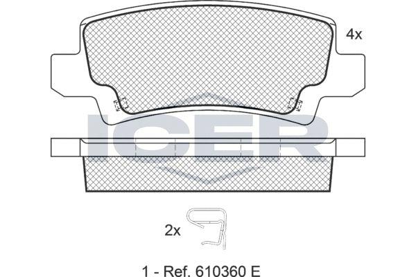 ICER  181514 Bremsbelagsatz, Scheibenbremse Höhe: 37,84mm, Dicke/Stärke: 16,1mm