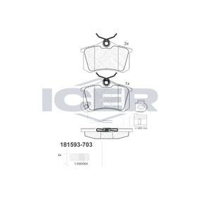 ICER Jogo de pastilhas para travão de disco 181593-703 com códigos OEM JZW698451