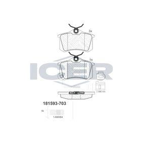 ICER Bromsbeläggssats, skivbroms 181593-703 med OEM Koder JZW698451