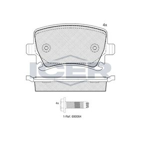Bremsbelagsatz, Scheibenbremse Breite: 105,3mm, Höhe: 56,1mm, Dicke/Stärke: 17mm mit OEM-Nummer 1K0 698 451 H