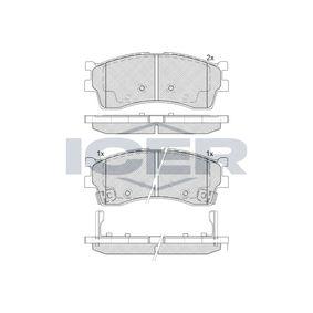 ICER  181610 Bremsbelagsatz, Scheibenbremse Höhe: 51,27mm, Dicke/Stärke: 16,5mm