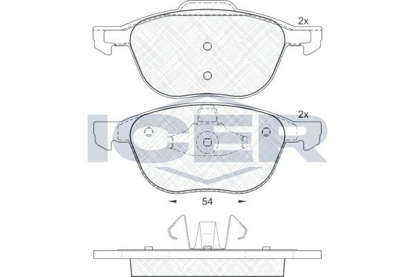 ICER  181617 Bremsbelagsatz, Scheibenbremse Breite 2: 156,2mm, Breite: 155,0mm, Höhe 2: 66,9mm, Höhe: 62,2mm, Dicke/Stärke: 18,4mm