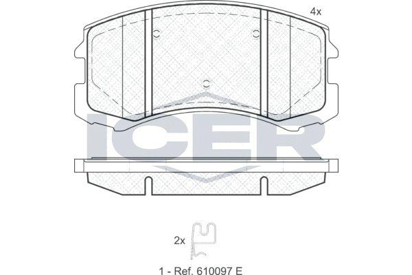 ICER  181618 Bremsbelagsatz, Scheibenbremse Höhe: 56,49mm, Dicke/Stärke: 16,1mm