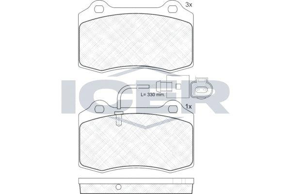 ICER  181636 Bremsbelagsatz, Scheibenbremse Breite: 109,7mm, Höhe: 69,2mm, Dicke/Stärke: 14,7mm