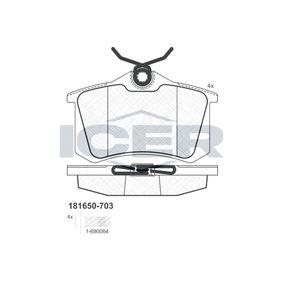 ICER Jogo de pastilhas para travão de disco 181650-703 com códigos OEM 7701209735