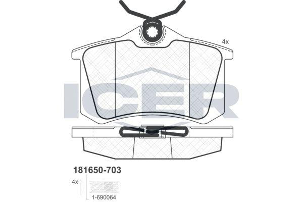 ICER  181650-703 Bremsbelagsatz, Scheibenbremse Höhe: 52,8mm, Dicke/Stärke: 16,4mm