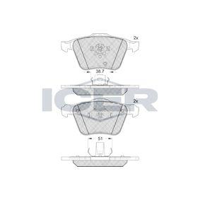 ICER  181655 Bremsbelagsatz, Scheibenbremse Höhe 2: 74,24mm, Höhe: 75,02mm, Dicke/Stärke 2: 19,3mm, Dicke/Stärke: 20,8mm