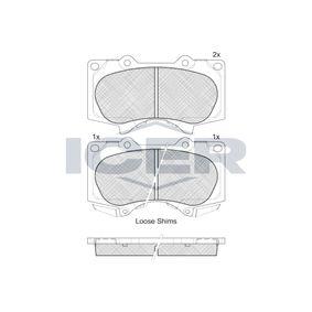 ICER  181665 Bremsbelagsatz, Scheibenbremse Höhe: 77,1mm, Dicke/Stärke: 17,2mm