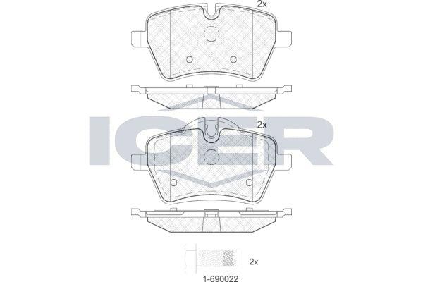 ICER  181756 Bremsbelagsatz, Scheibenbremse Höhe 2: 71,55mm, Höhe: 64,1mm, Dicke/Stärke: 17,9mm