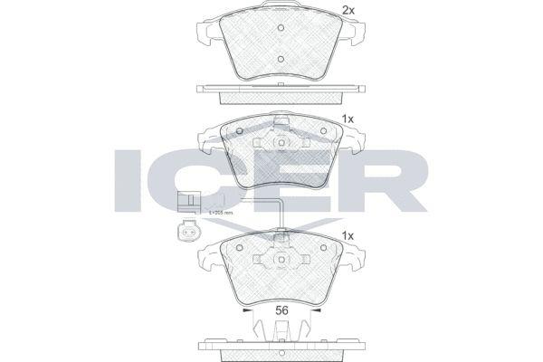ICER  181778 Bremsbelagsatz, Scheibenbremse Höhe 2: 74,95mm, Höhe: 73,3mm, Dicke/Stärke 2: 17,7mm, Dicke/Stärke: 18,2mm