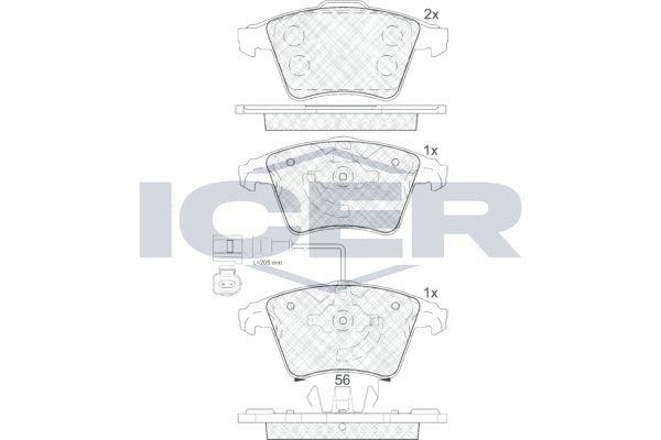 ICER  181779 Bremsbelagsatz, Scheibenbremse Höhe 2: 74,95mm, Höhe: 73,3mm, Dicke/Stärke 2: 18,6mm, Dicke/Stärke: 19,8mm
