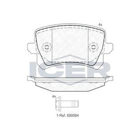 ICER  181857 Bremsbelagsatz, Scheibenbremse Höhe: 56,1mm, Dicke/Stärke: 17mm