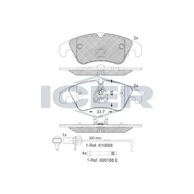ICER  181862 Bremsbelagsatz, Scheibenbremse Höhe 2: 73,6mm, Höhe: 73mm, Dicke/Stärke: 18,4mm