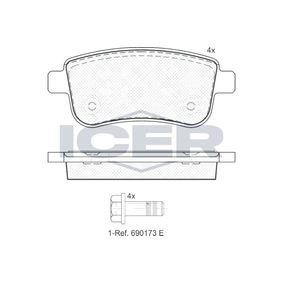 ICER  181904 Bremsbelagsatz, Scheibenbremse Höhe: 45,43mm, Dicke/Stärke: 16mm