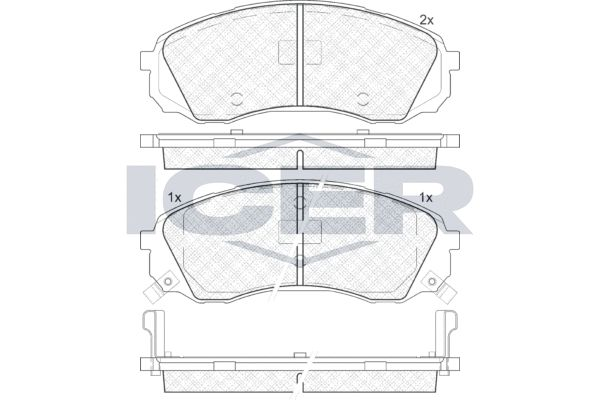 ICER  181911 Bremsbelagsatz, Scheibenbremse Höhe: 63,4mm, Dicke/Stärke: 17,6mm