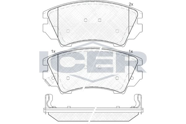 ICER  181913 Brake Pad Set, disc brake Width: 141,8mm, Height: 66,6mm, Thickness: 19,3mm