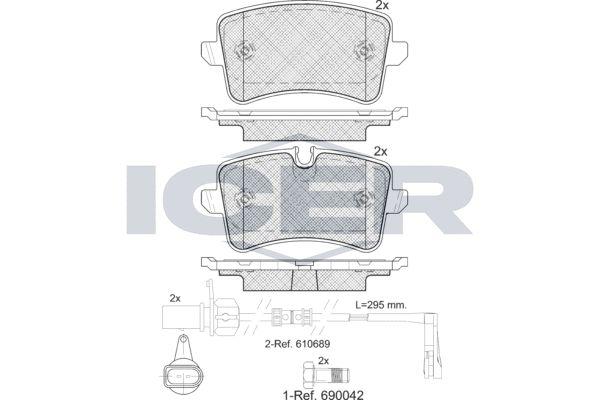 ICER  181986 Kit de plaquettes de frein, frein à disque Hauteur 2: 59,6mm, Hauteur: 58,63mm, Épaisseur: 17,4mm
