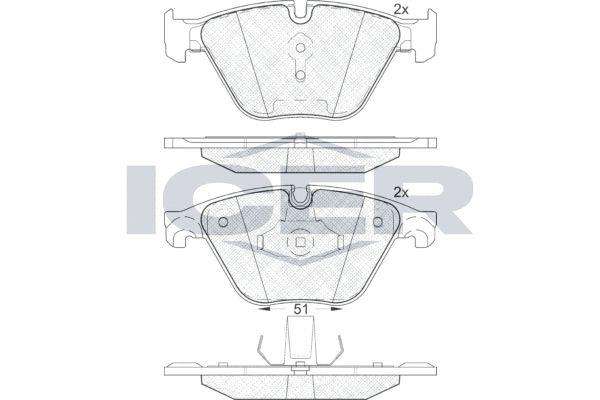 ICER  181998 Bremsbelagsatz, Scheibenbremse Höhe 2: 68,37mm, Höhe: 68,5mm, Dicke/Stärke 2: 20,3mm, Dicke/Stärke: 18,9mm