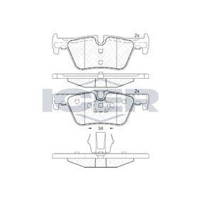 ICER  182049 Bremsbelagsatz, Scheibenbremse Höhe 2: 46,6mm, Höhe: 45,2mm, Dicke/Stärke: 17,5mm