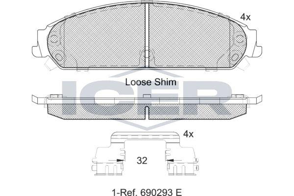 ICER  182068 Bremsbelagsatz, Scheibenbremse Höhe: 54,8mm, Dicke/Stärke: 17,2mm