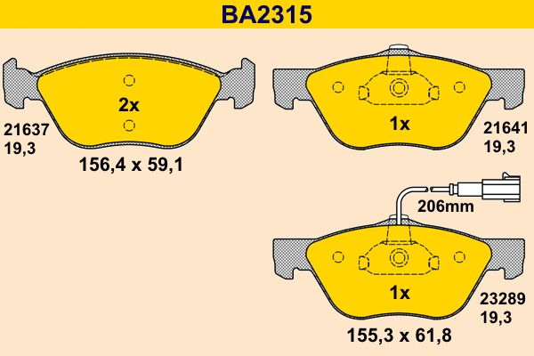 Barum  BA2315 Bremsbelagsatz, Scheibenbremse Breite 1: 156,4mm, Breite 2: 155,3mm, Höhe 1: 59,1mm, Höhe 2: 61,8mm, Dicke/Stärke: 19,3mm