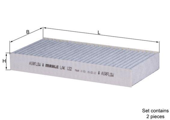 MAHLE ORIGINAL  LAK 122/S Filtro, aire habitáculo Ancho: 112,0mm, Altura: 30,0mm