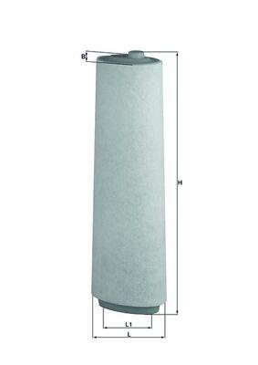 MAHLE ORIGINAL  LX 818 Luftfilter Breite: 90, 90,0mm, Höhe: 498mm, Länge über Alles: 147,8mm, Länge: 109,0mm