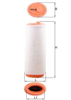 MAHLE ORIGINAL  LX 823 Luftfilter Breite: 90, 90,0mm, Höhe: 377mm, Länge über Alles: 147,8mm, Länge: 109,0mm