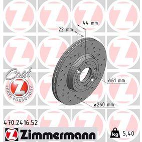 ZIMMERMANN SPORT REMSCHIJF COAT Z 470.2416.52 Remschijf Ø: 259,6mm