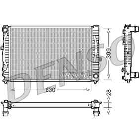 DENSO Kühler, Motorkühlung DRM02032 für AUDI A6 (4B2, C5) 2.4 ab Baujahr 07.1998, 136 PS