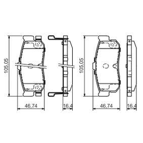 Bremsbelagsatz, Scheibenbremse Breite: 105,1mm, Höhe: 46,7mm, Dicke/Stärke: 16,4mm mit OEM-Nummer AY060NS015