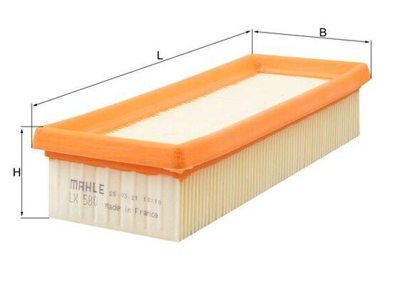 KNECHT  LX 580 Luftfilter Breite: 89mm, Höhe: 47mm, Länge über Alles: 228,0mm