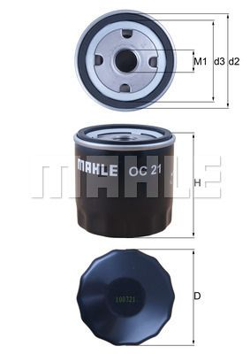 KNECHT  OC 21 Oil Filter Ø: 76,0mm, Outer diameter 2: 72mm, Ø: 76,0mm, Inner Diameter 2: 62mm, Inner Diameter 2: 62mm, Height: 80mm