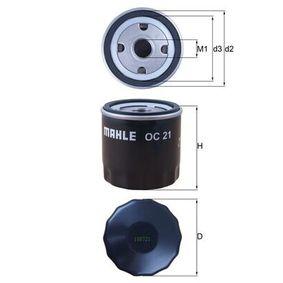 KNECHT  OC 21 Filtre à huile Ø: 76,0mm, Diamètre intérieur 2: 62,0mm, Hauteur: 80,0mm