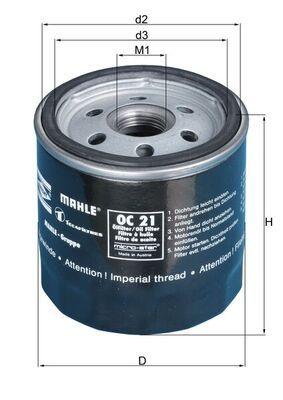 KNECHT  OC 21 OF Oil Filter Ø: 76,0mm, Ø: 76,0mm, Inner Diameter 2: 62mm, Inner Diameter 2: 62mm, Height: 80mm