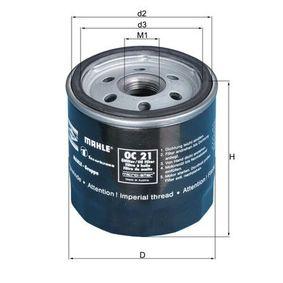 KNECHT  OC 21 OF Filtre à huile Ø: 76,0mm, Diamètre intérieur 2: 62,0mm, Hauteur: 80,0mm
