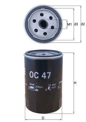 KNECHT  OC 47 Ölfilter Ø: 76,0mm, Innendurchmesser 2: 62,0mm, Höhe: 119,5mm