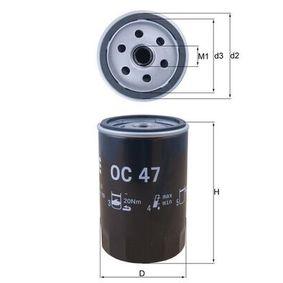 Ölfilter Innendurchmesser 2: 62,0mm, Höhe: 119,5mm mit OEM-Nummer BAT115561A