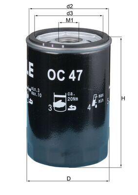 KNECHT  OC 47 OF Ölfilter Innendurchmesser 2: 62,0mm, Höhe: 119,5mm