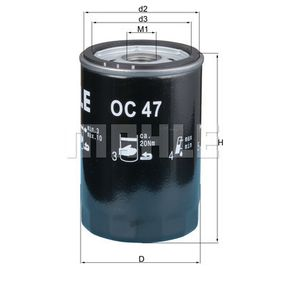 Ölfilter Innendurchmesser 2: 62,0mm, Höhe: 119,5mm mit OEM-Nummer 037115561B
