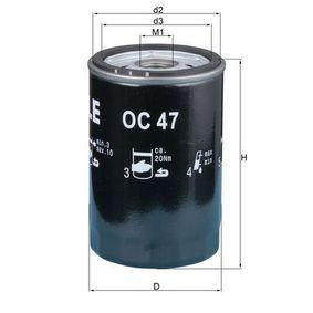 Ölfilter Innendurchmesser 2: 62,0mm, Höhe: 119,5mm mit OEM-Nummer 0009830625