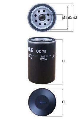 KNECHT  OC 79 Ölfilter Ø: 76,0mm, Ø: 76,0mm, Höhe: 120mm