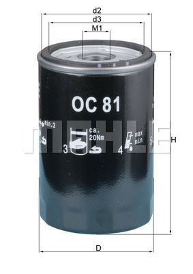 KNECHT  OC 81 Ölfilter Ø: 76,0mm, Außendurchmesser 2: 72mm, Ø: 76,0mm, Innendurchmesser 2: 62mm, Innendurchmesser 2: 62mm, Höhe: 120mm