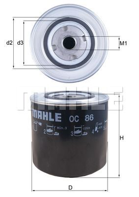 KNECHT  OC 86 Ölfilter Ø: 108,0mm, Ø: 108,0mm, Höhe: 97mm