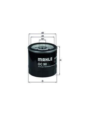 KNECHT  OC 90 OF Ölfilter Ø: 76,0mm, Außendurchmesser 2: 72mm, Ø: 76,0mm, Innendurchmesser 2: 62mm, Innendurchmesser 2: 62mm, Höhe: 80mm