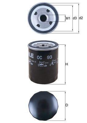 KNECHT  OC 93 Ölfilter Ø: 76,0mm, Ø: 76,0mm, Höhe: 101mm