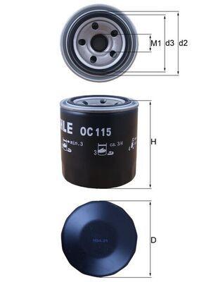 KNECHT  OC 115 Ölfilter Ø: 76,0mm, Außendurchmesser 2: 63mm, Ø: 76,0mm, Innendurchmesser 2: 52mm, Innendurchmesser 2: 52mm, Höhe: 93mm